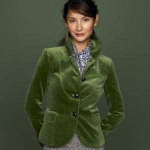 J. Crew Bella Velvet Jacket Blazer in Moss Green